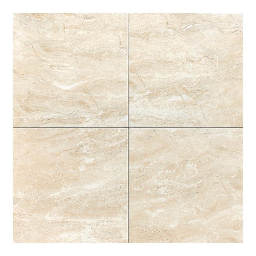 American Olean 14-Pack 13-in x 13-in Torre Venato Crema Glazed Porcelain Floor Tile