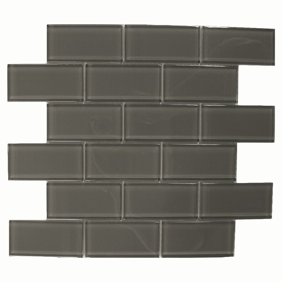 American Olean 12 In X Delfino Charcoal Gl Mosaic Subway Wall Tile
