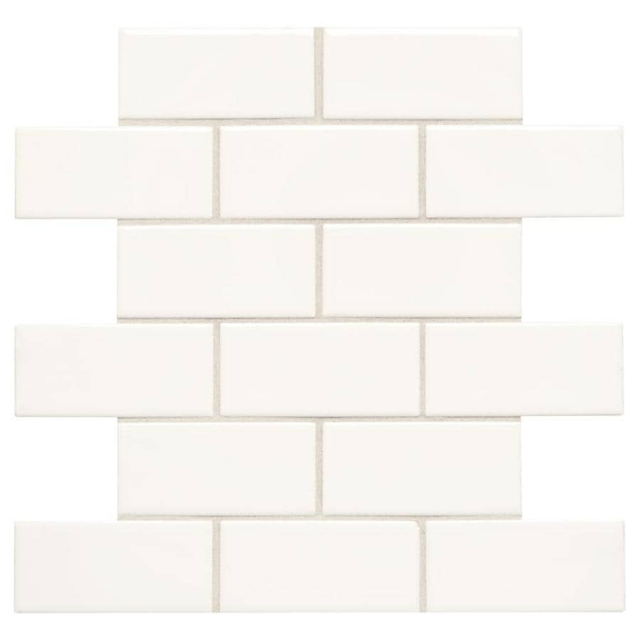 American Olean Starting Line White Gloss Brick Mosaic Ceramic Wall Tile Common 12