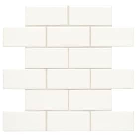 American Olean Starting Line White Gloss 12-in x 12-in Ceramic Brick Mosaic Wall Tile (Common: 12-in x 12-in; Actual: 12-in x 12-in)
