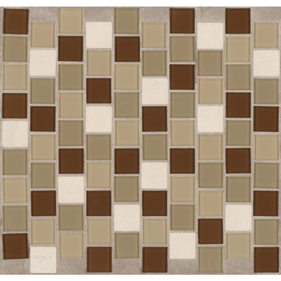 American Olean 12-in x 12-in Urban Sand Glass Mosaic Subway Wall Tile
