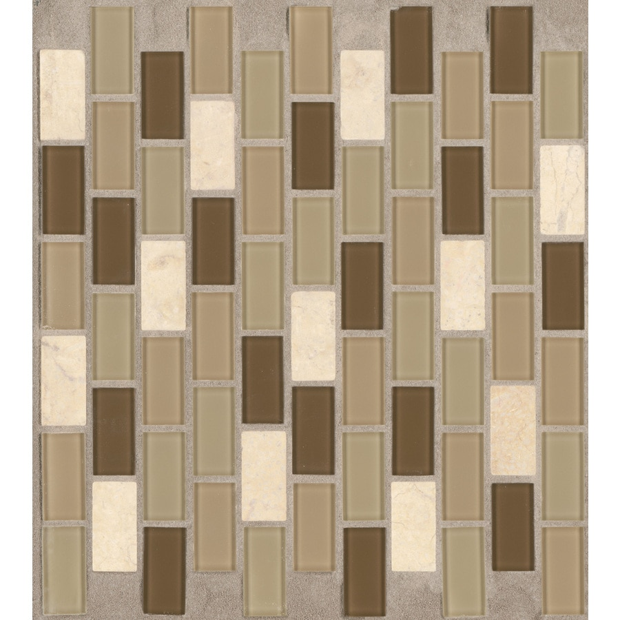 American Olean 12-in x 12-in Parchment Glass Mosaic Subway Wall Tile