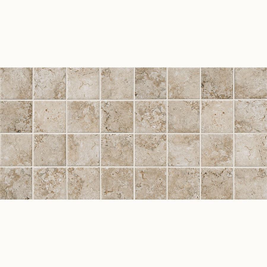 American Olean Bordeaux 12-Pack Creme Uniform Squares Mosaic Porcelain Floor and Wall Tile (Common: 12-in x 24-in; Actual: 11.93-in x 23.93-in)