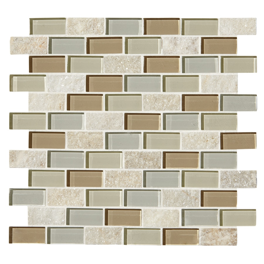 American Olean Delfino Stone Icy Mist Mosaic Stone and Glass Wall Tile (Common: 12-in x 12-in; Actual: 11.69-in x 12.5-in)
