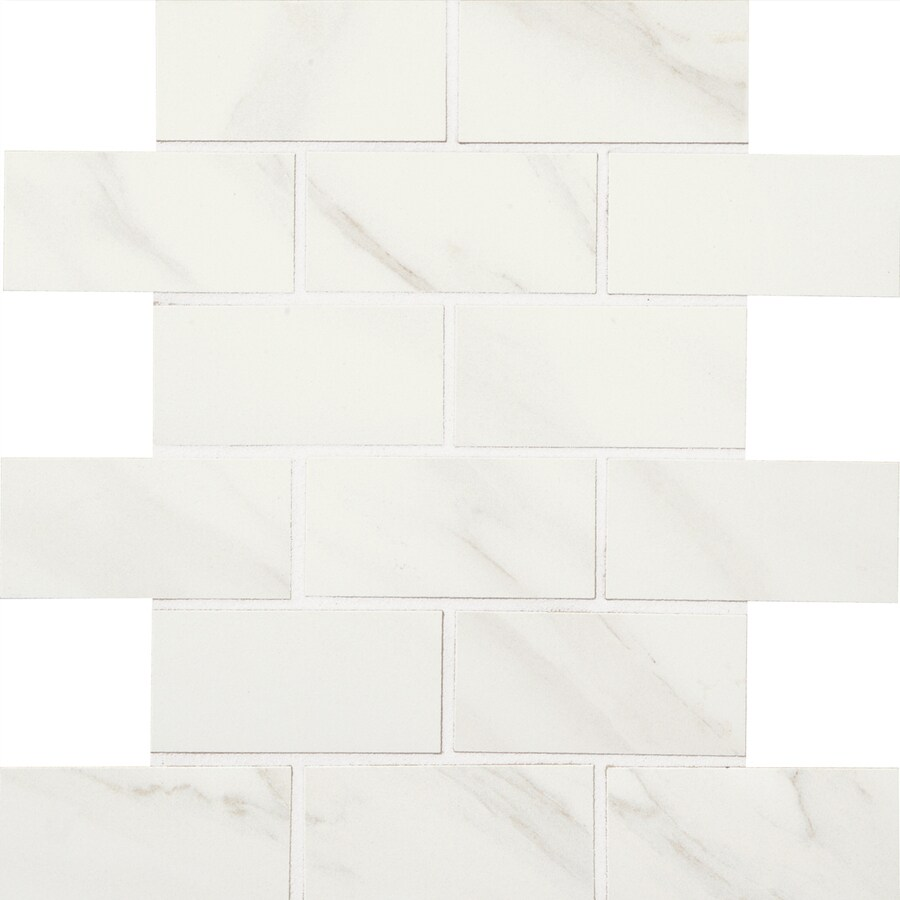 American Olean Mirasol 12-Pack Bianco Carrara Brick Mosaic Porcelain Floor and Wall Tile (Common: 12-in x 12-in; Actual: 11.87-in x 11.87-in)