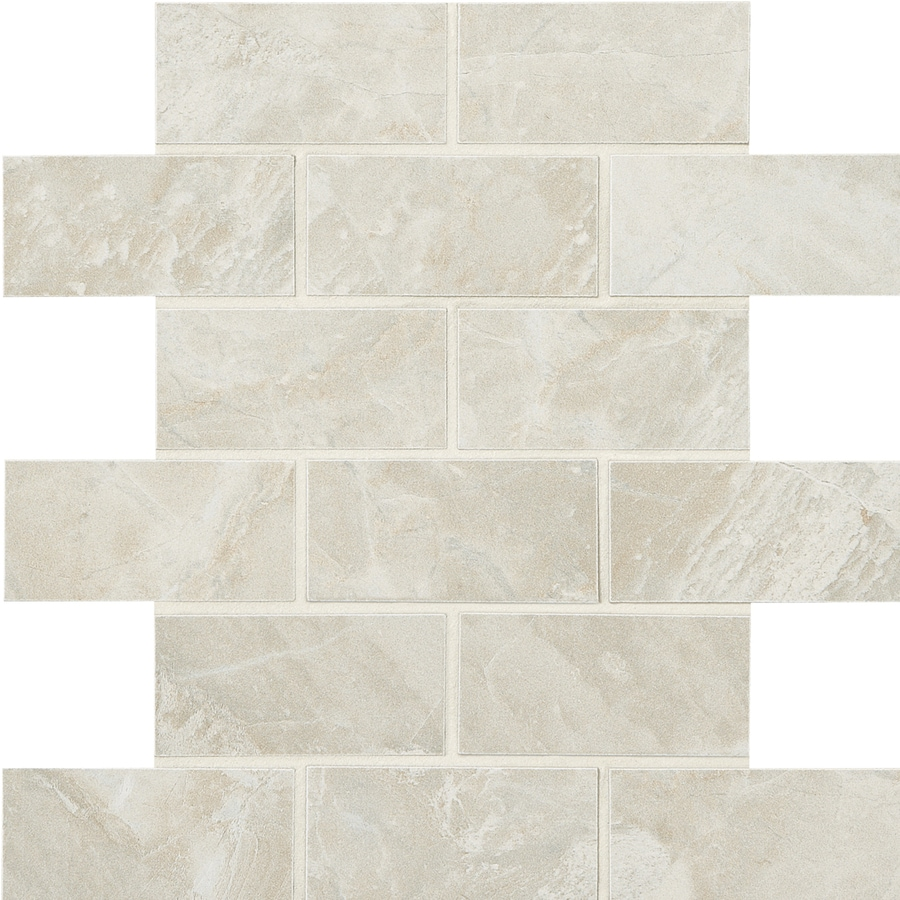 American Olean Mirasol 12-Pack Silver Marble Brick Mosaic Porcelain Floor and Wall Tile (Common: 12-in x 12-in; Actual: 11.87-in x 11.87-in)