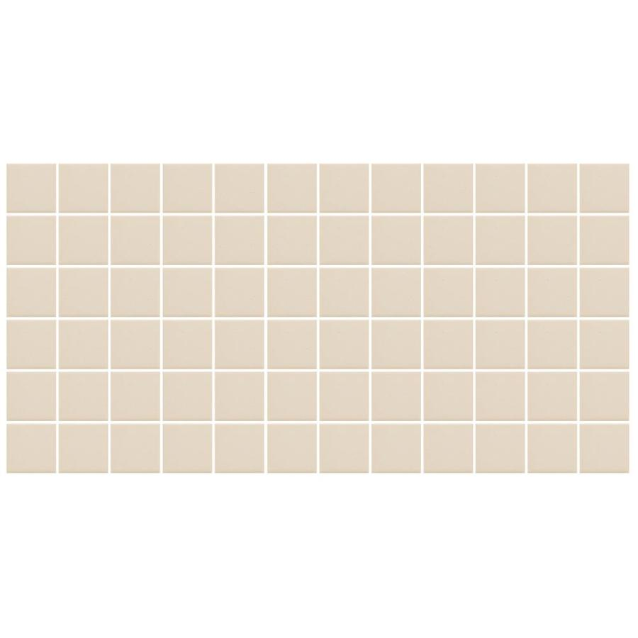 American Olean Unglazed Porcelain Mosaics Abrasive 12-Pack Almond Uniform Squares Mosaic Thru Body Porcelain Floor and Wall Tile (Common: 12-in x 24-in; Actual: 11.93-in x 23.93-in)