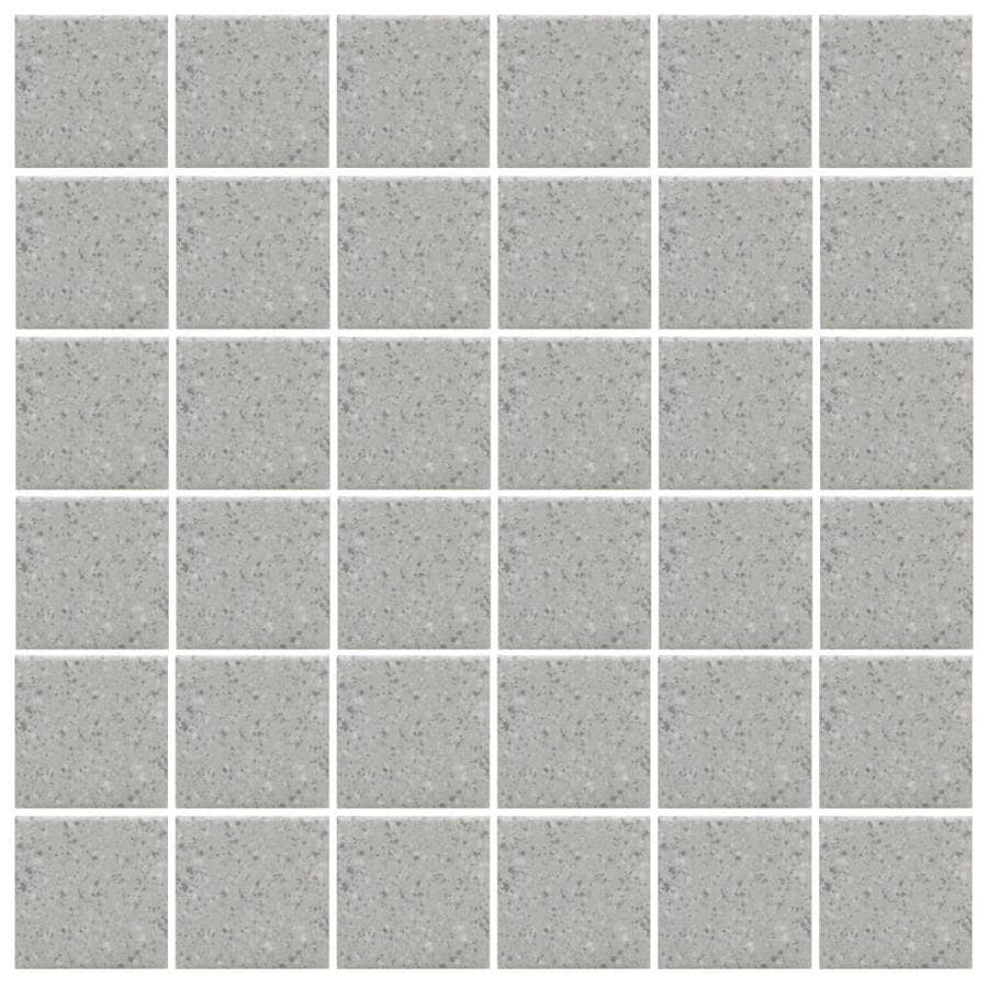American Olean Unglazed Porcelain Mosaics 12-Pack Light Smoke Speckled Uniform Squares Mosaic Thru Body Porcelain Floor and Wall Tile (Common: 12-in x 24-in; Actual: 11.93-in x 23.93-in)