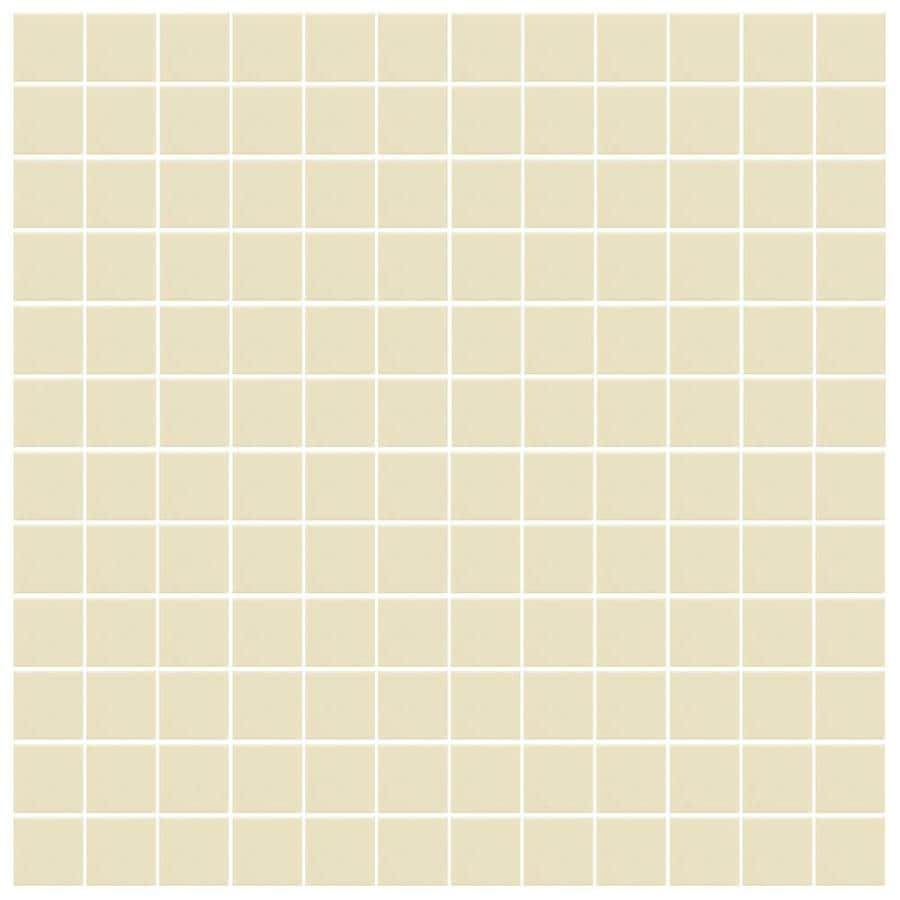 American Olean Unglazed Porcelain Mosaics 12-Pack Vanilla Cream Uniform Squares Mosaic Thru Body Porcelain Floor and Wall Tile (Common: 12-in x 24-in; Actual: 11.93-in x 23.93-in)