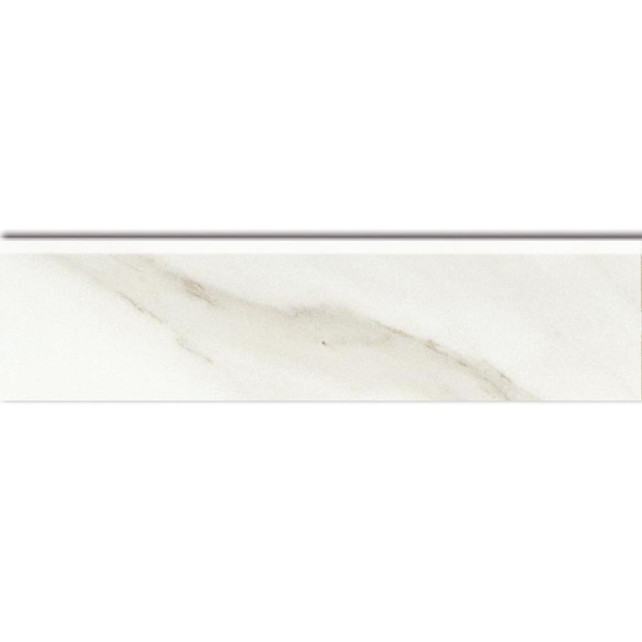 American Olean Mirasol Bianco Carrara Porcelain Bullnose Tile (Common: 3-in x 12-in; Actual: 2.87-in x 12-in)