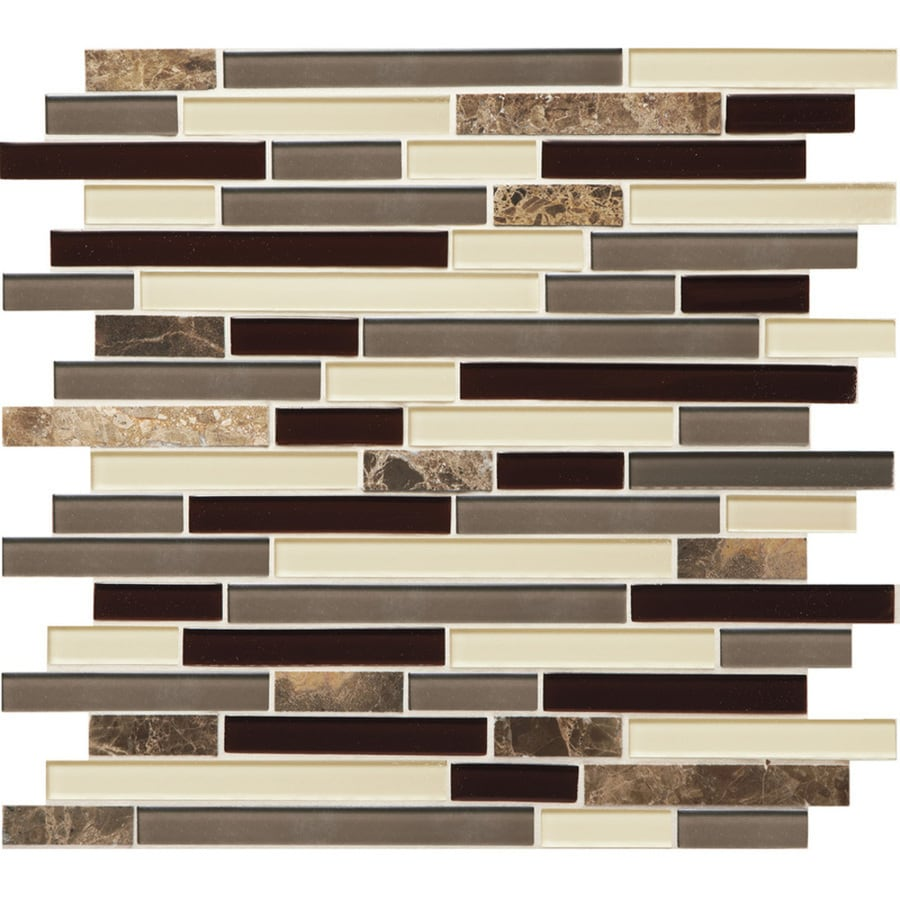 Shop tile at lowes american olean mosaic chateau emperador linear mosaic stone and glass marble wall tile common dailygadgetfo Choice Image