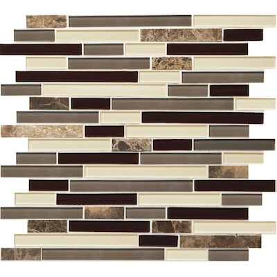 Mosaic Chateau Emperador 12-in x 12-in Stone and Glass Linear Marble Wall  Tile (Common: 12-in x 12-in; Actual: 13-in x 11.75-in)