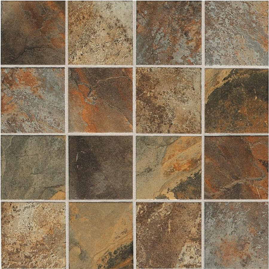 Shop american olean 12 pack kendal slate ambleside beige ceramic american olean 12 pack kendal slate ambleside beige ceramic mosaic square floor tile common dailygadgetfo Image collections