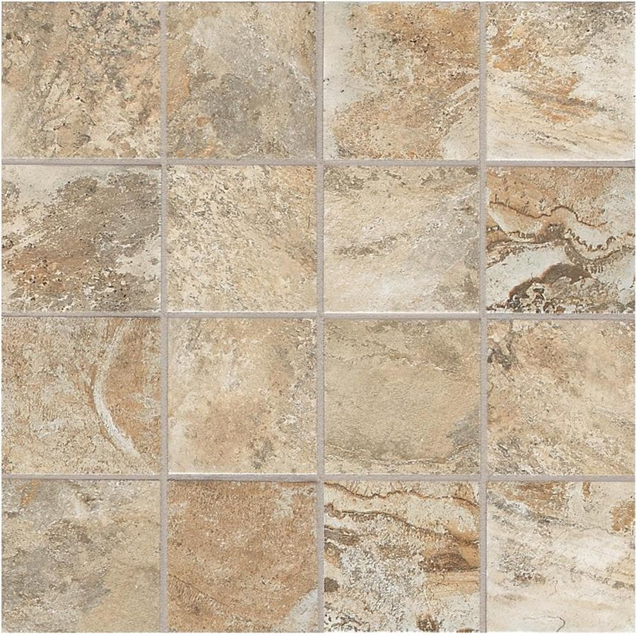 Shop american olean 12 pack kendal slate easdale neutral ceramic american olean 12 pack kendal slate easdale neutral ceramic mosaic square floor tile common dailygadgetfo Images