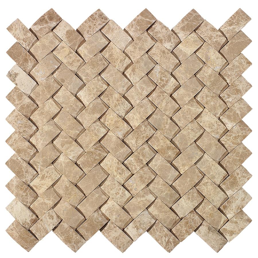 American Olean Delfino Stone Emperador Basketweave Mosaic Marble Wall Tile Common 12 In