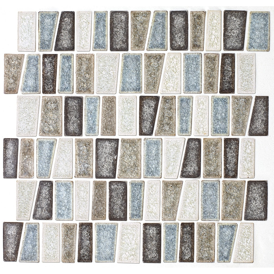 American Olean Delfino Crackle Sea Side Versailles Mosaic Glass Wall Tile  (Common: 12