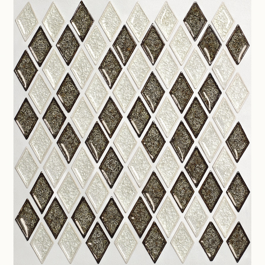 allen + roth Harlequin Chevron Mosaic Glass Wall Tile (Common: 12-in x 12-in; Actual: 12.25-in x 13.25-in)