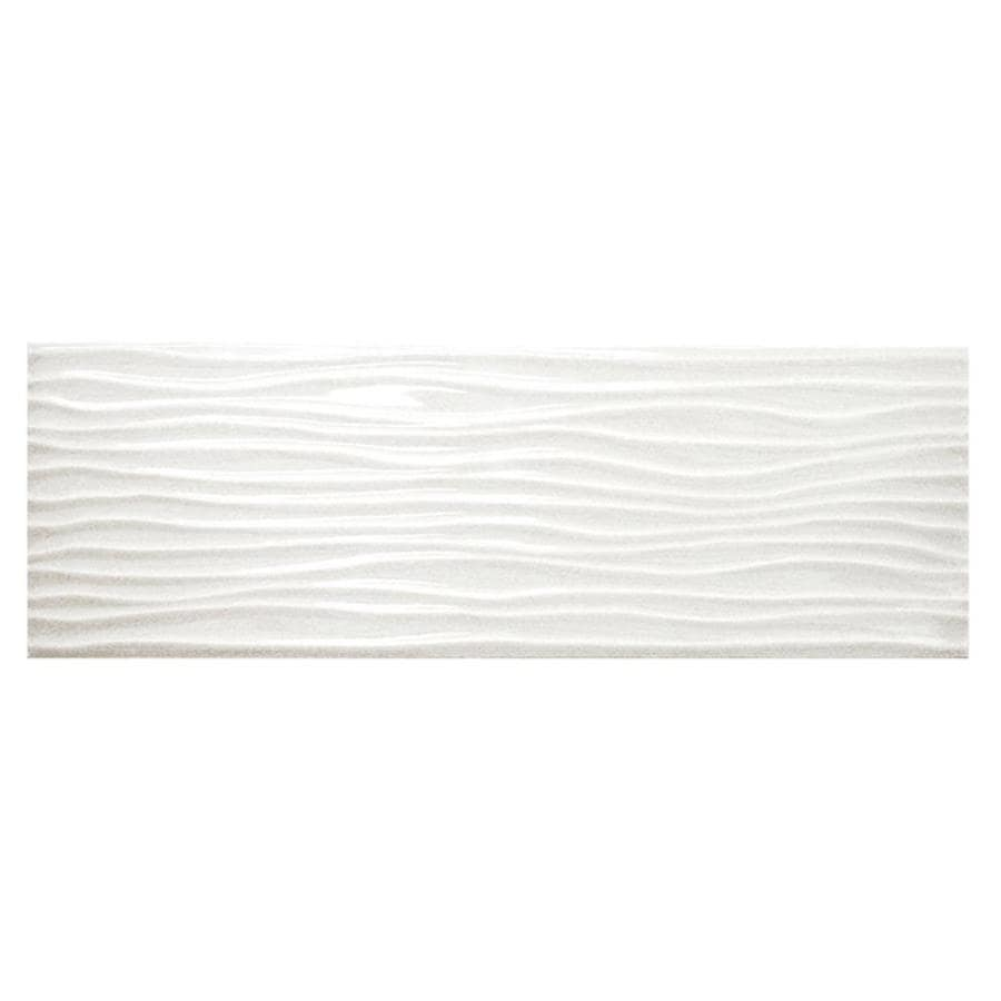 Shop Allen Roth Wavecrest White Gloss Ceramic Wall Tile Common 4 In X 12