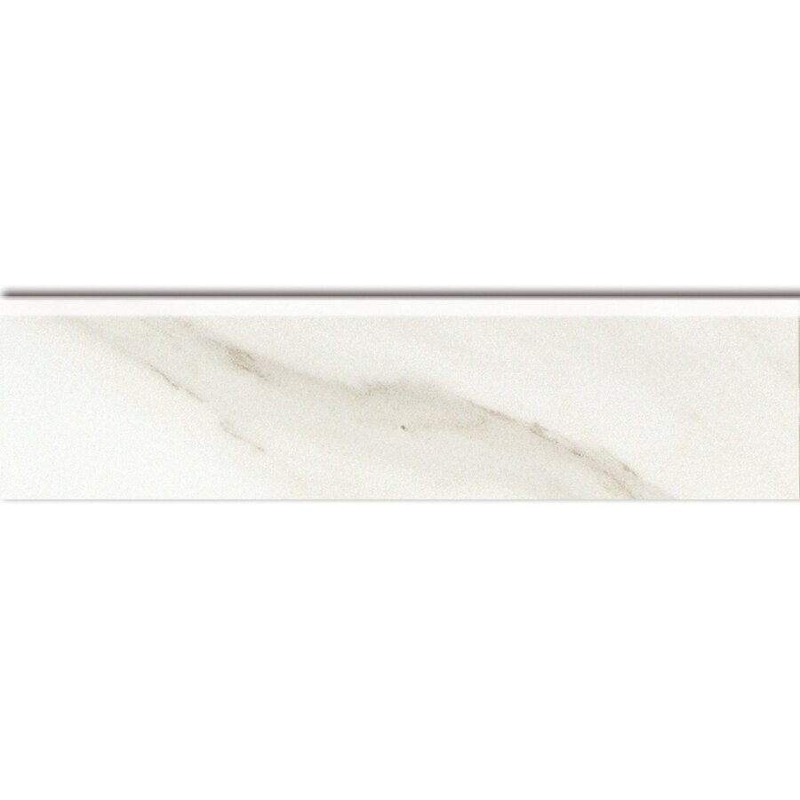 American Olean Mirasol Bianco Carrara Ceramic Bullnose Tile (Common: 3-in x 12-in; Actual: 2.87-in x 11.62-in)