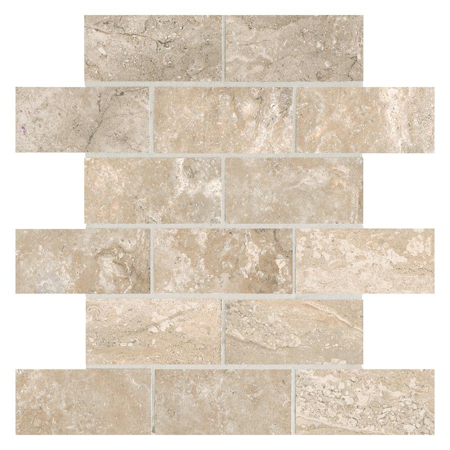 American Olean Laurel Heights 12 Pack Elevated Beige Ceramic Brick Mosaic Floor And Wall Tile