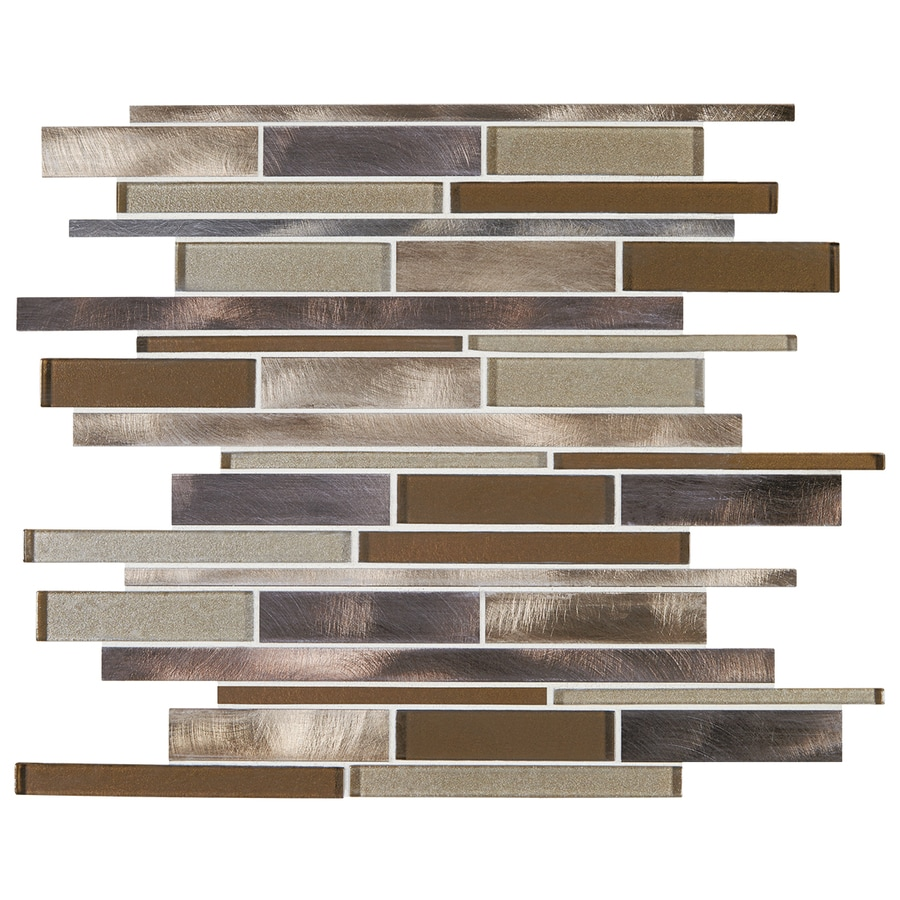 American Olean Bronze Blast Linear Mosaic Glass and Metal Wall Tile (Common: 12-in x 12-in; Actual: 11.73-in x 12.2-in)