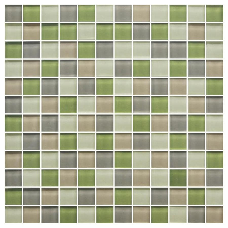 American Olean Color Appeal Willow Brook Uniform Squares Mosaic Glass Wall Tile (Common: 12-in X 12-in; Actual: 11.75-in x 11.75-in)