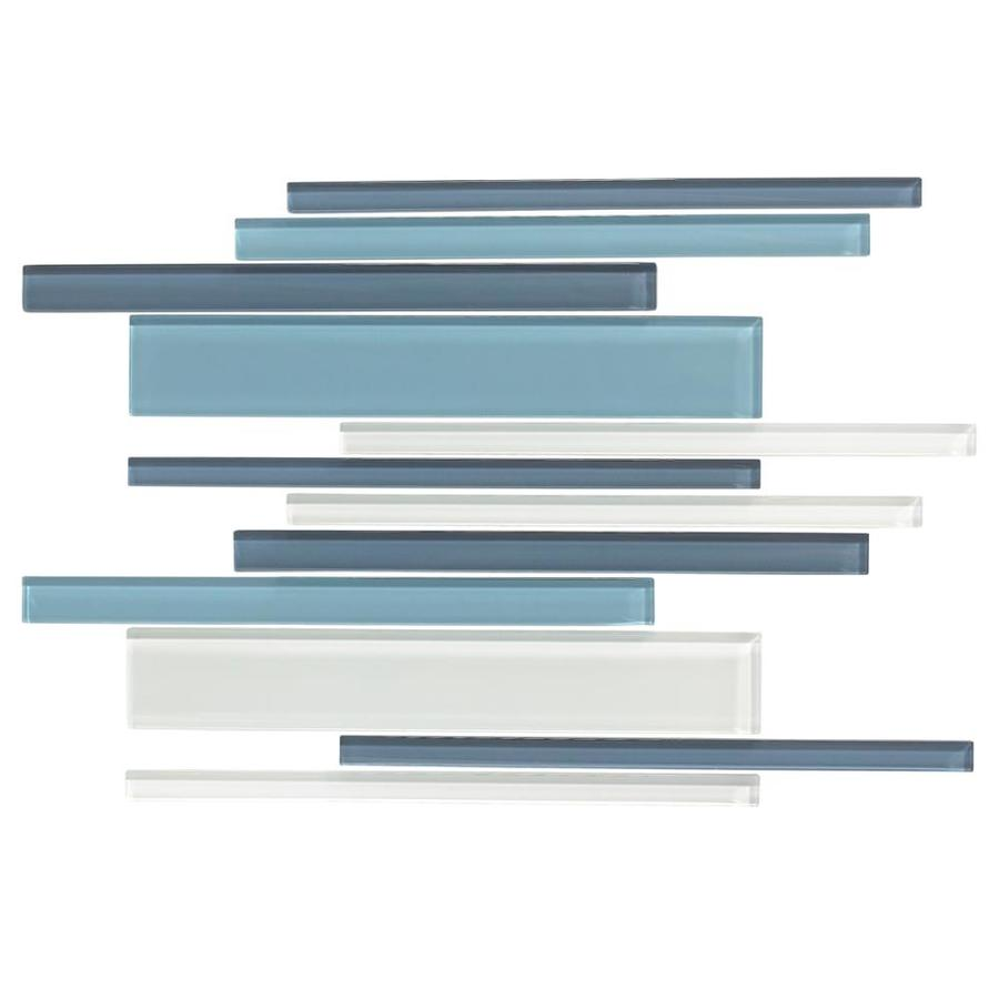 American Olean Color Appeal Blue Moon Linear Mosaic Glass Wall Tile (Common: 12-in X 16-in; Actual: 16-in x 12-in)