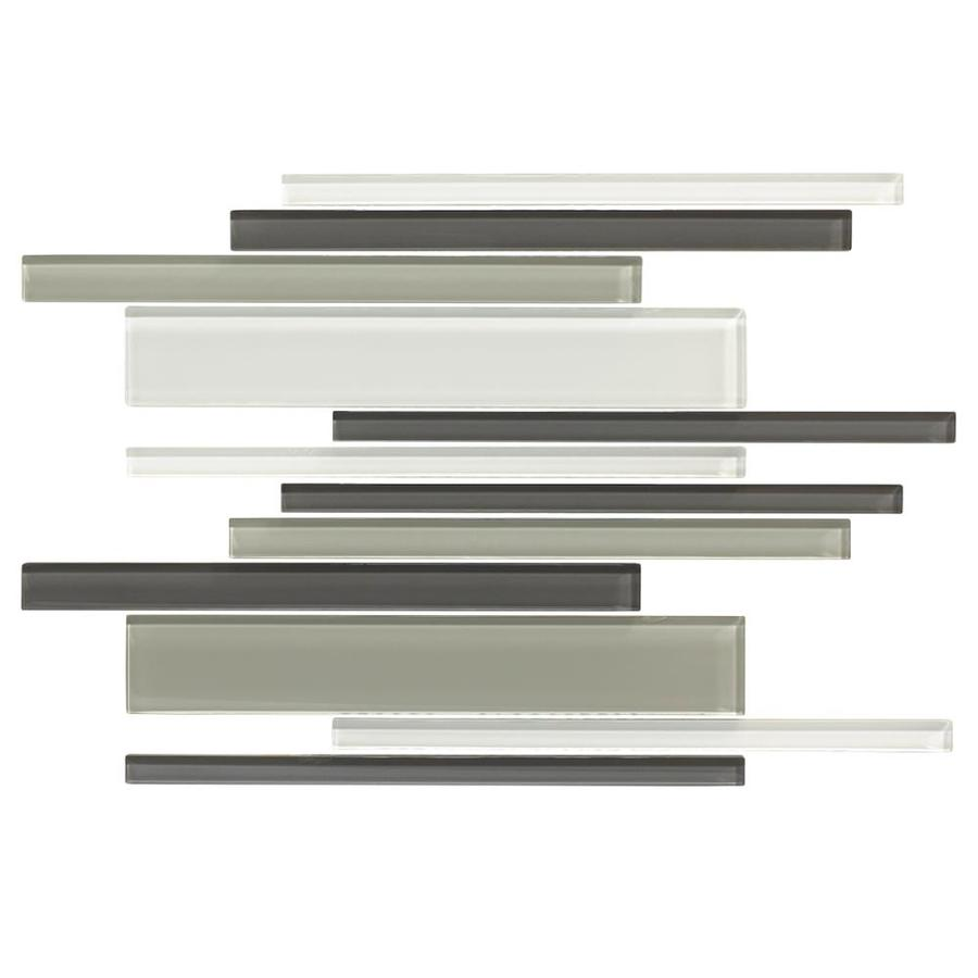 American Olean Color Appeal Silver Spring Linear Mosaic Glass Wall Tile (Common: 12-in X 16-in; Actual: 16-in x 12-in)