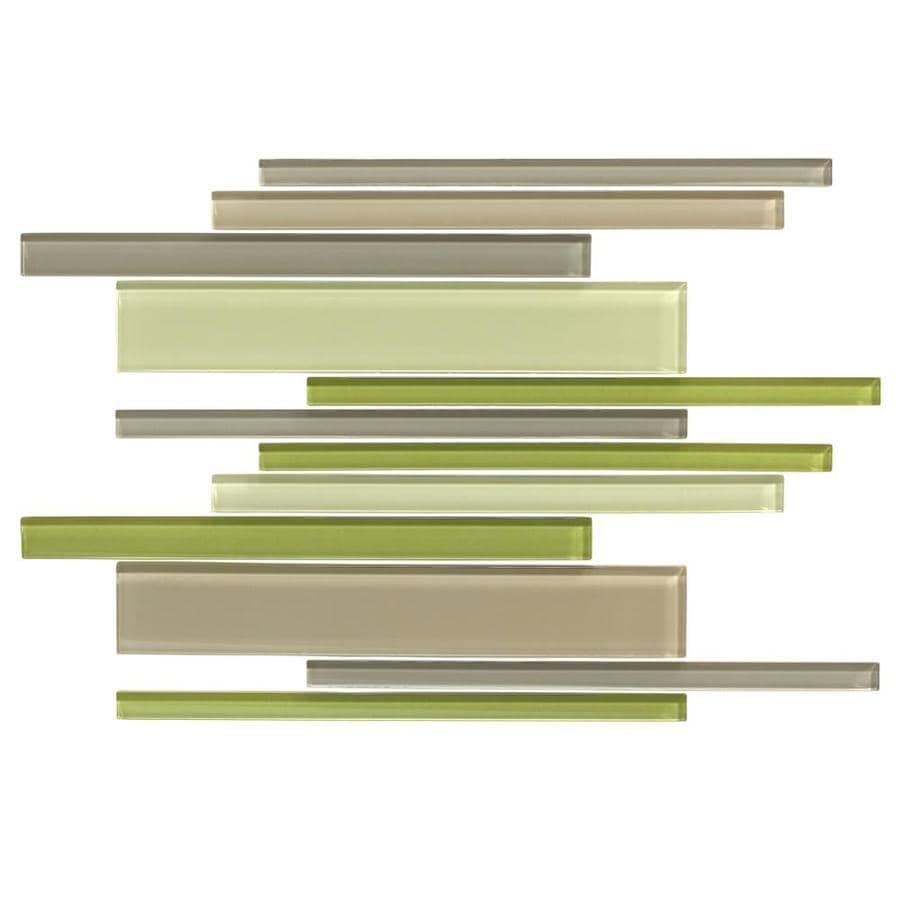 American Olean Color Appeal Willow Brook Linear Mosaic Glass Wall Tile (Common: 12-in X 16-in; Actual: 16-in x 12-in)