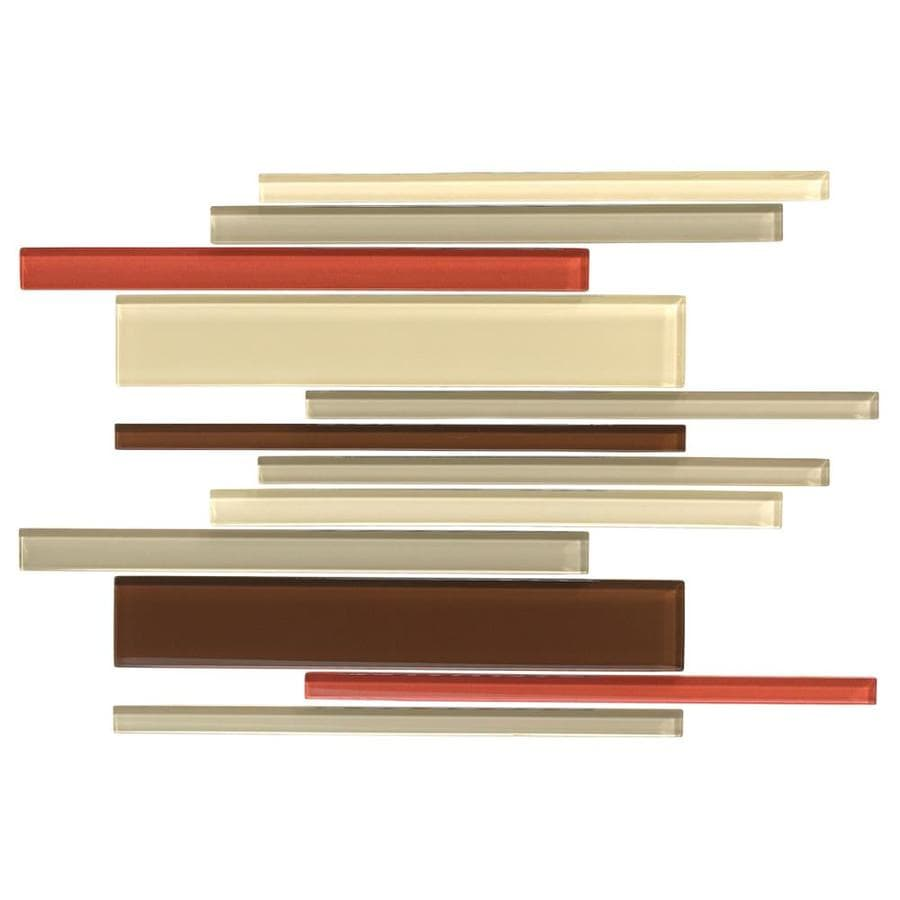 American Olean Color Appeal Earth Fire Linear Mosaic Glass Wall Tile (Common: 12-in X 16-in; Actual: 16-in x 12-in)