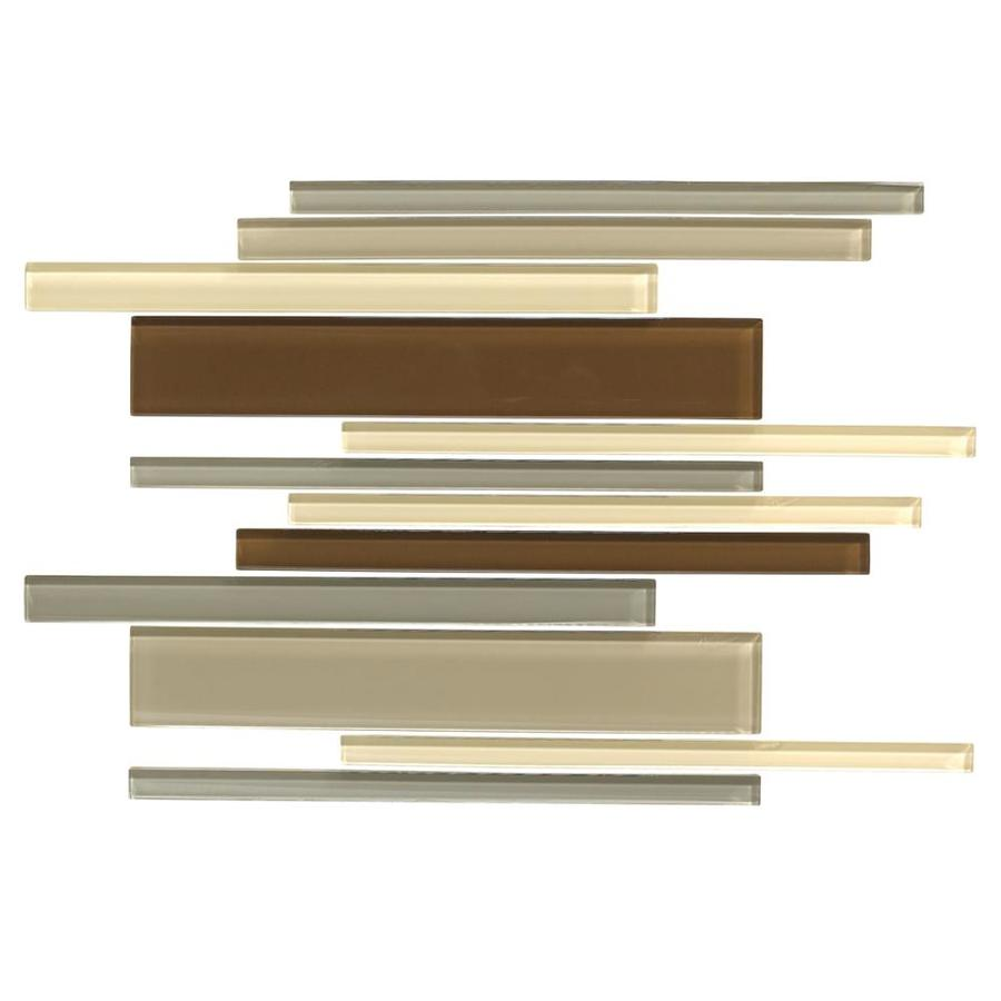 American Olean Color Appeal Pecan Grove Linear Mosaic Glass Wall Tile (Common: 12-in X 16-in; Actual: 16-in x 12-in)