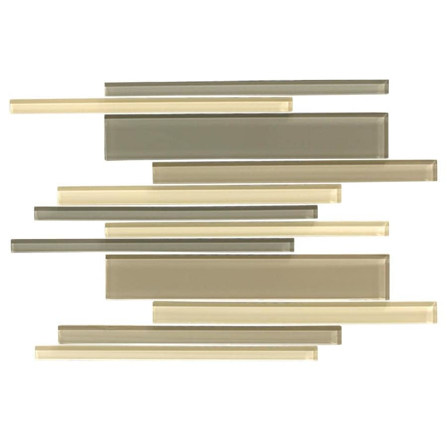 American Olean Color Appeal Sand Storm Linear Mosaic Glass Wall Tile (Common: 12-in X 16-in; Actual: 16-in x 12-in)
