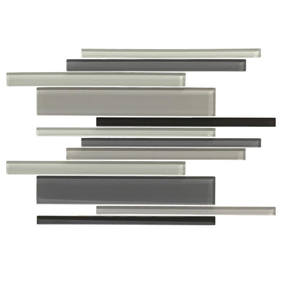 American Olean Color Appeal Midnight Sky Linear Mosaic Glass Wall Tile (Common: 12-in X 16-in; Actual: 16-in x 12-in)