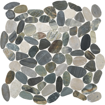 Delfino Stone Paradise Blend 12 In X Pebble Mosaic Floor And Wall Tile Common Actual 5
