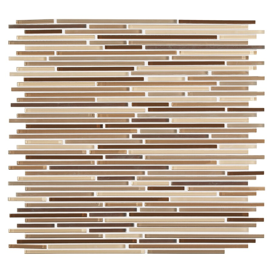 American Olean Cashmere Linear Mosaic Glass Wall Tile (Common: 12-in x 12-in; Actual: 11.75-in x 12.62-in)