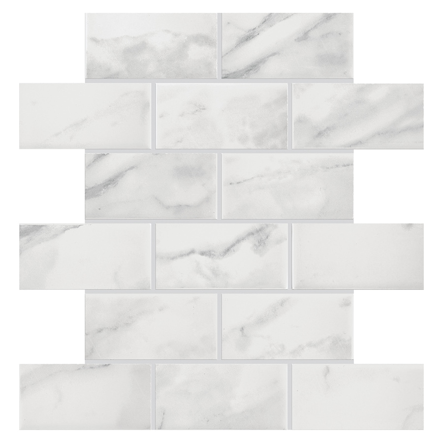 Shop american olean mooreland carrara white brick mosaic ceramic american olean mooreland carrara white brick mosaic ceramic wall tile common 11 in dailygadgetfo Choice Image