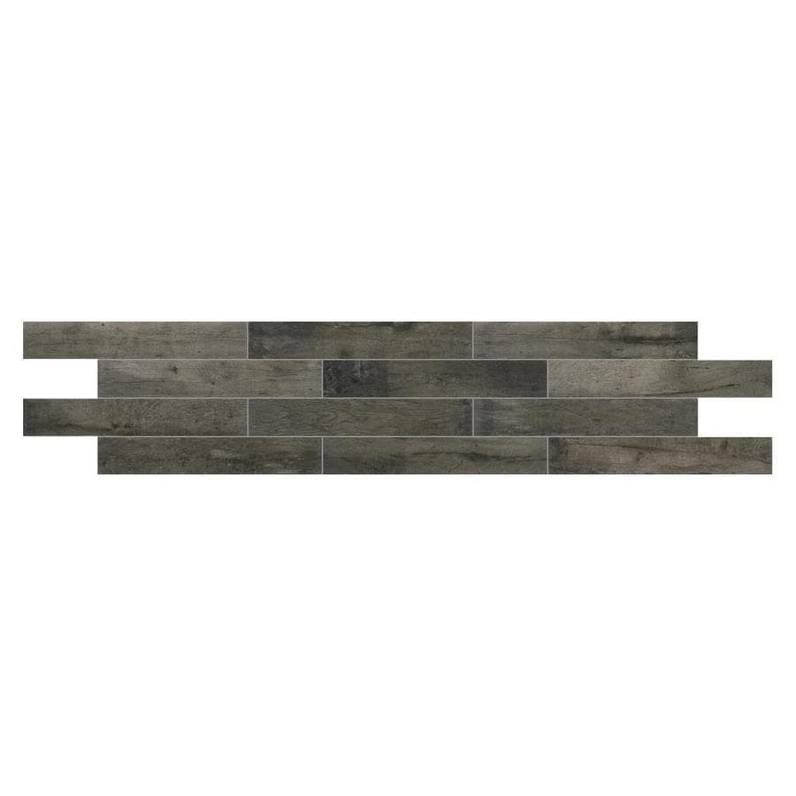 American Olean Historic Bridge 9-Pack Old Forge Wood Look Porcelain Floor and Wall Tile (Common: 6-in x 36-in; Actual: 35.43-in x 5.87-in)