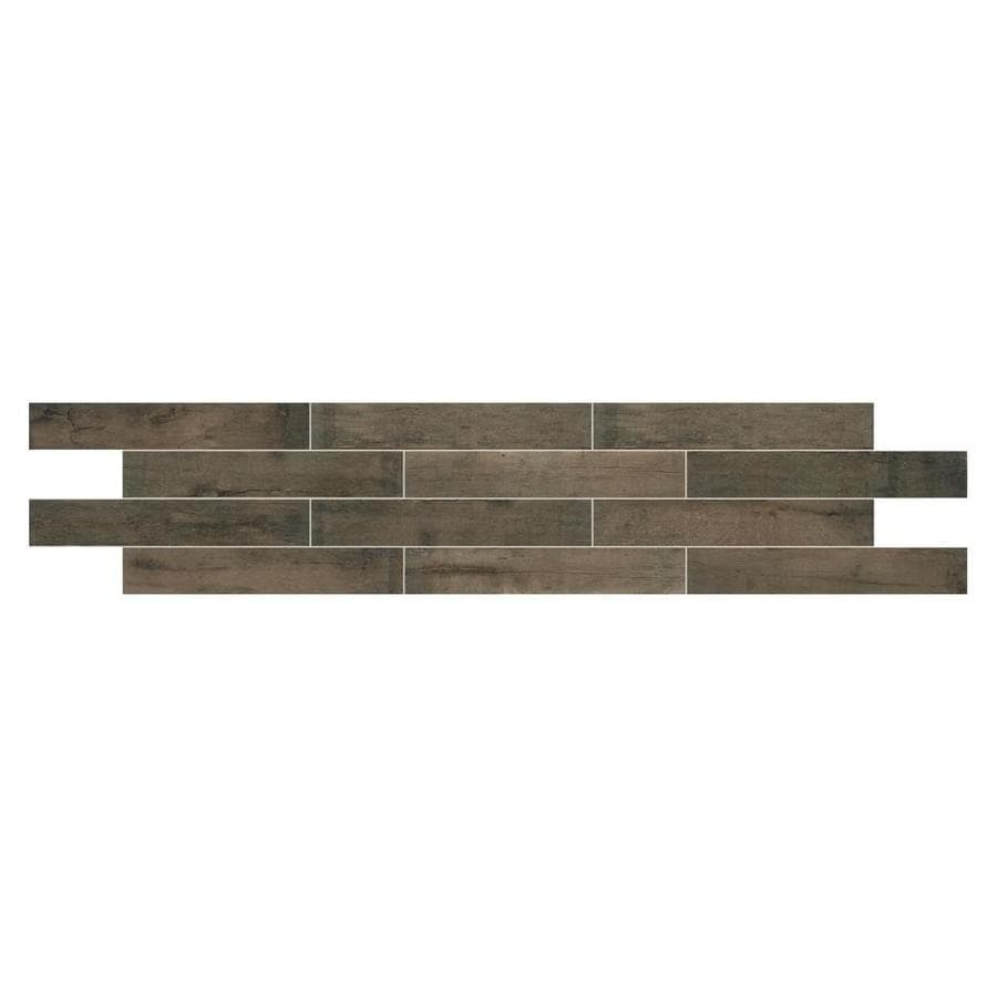 American Olean Historic Bridge 9-Pack Old Hollow Wood Look Porcelain Floor and Wall Tile (Common: 6-in x 36-in; Actual: 35.43-in x 5.87-in)