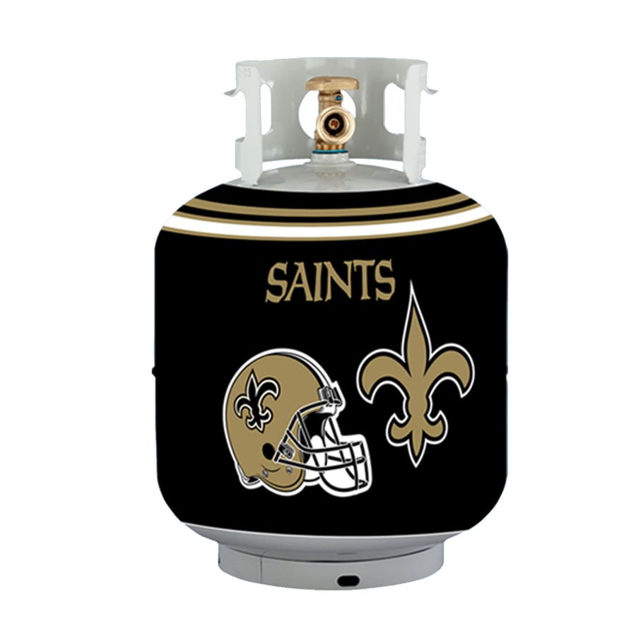 Bottle Skinz 16-in H x 34-in dia Black Polyester New Orleans Saints Propane Tank Cover