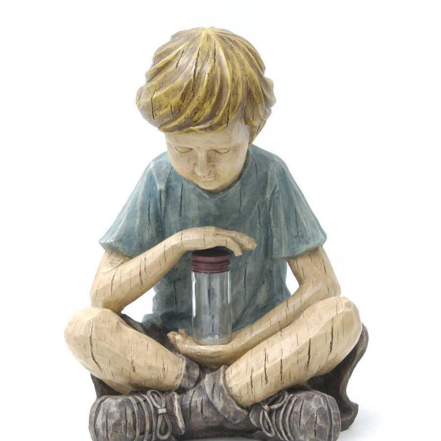 Garden Treasures 12-in H Boy with Firefly Jar Garden Statue