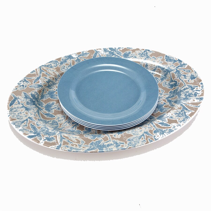Garden Treasures 1.8-in x 15.47-in Multicolor Resin Oval Serving Platter (4-Plate Set)