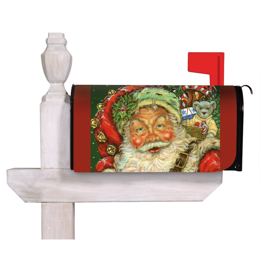 evergreen father christmas mailbox cover