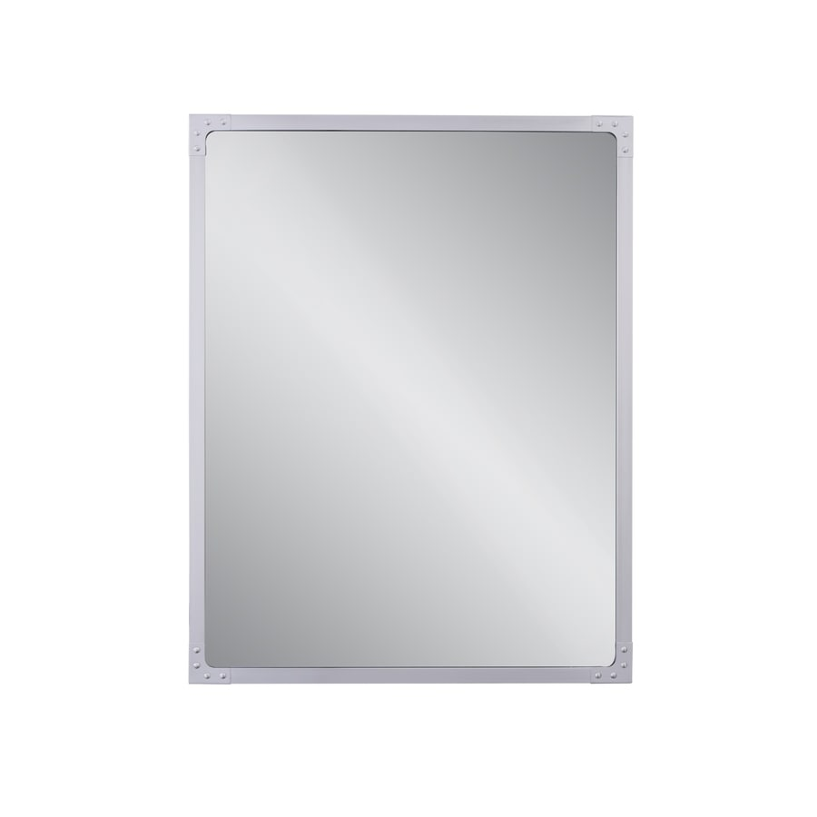 stainless steel bathroom mirror shop allen roth roveland 28 in brushed stainless steel 20644