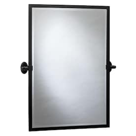 Better Bevel 20 In Satin Black Rectangular Bathroom Mirror In The Bathroom Mirrors Department At Lowes Com