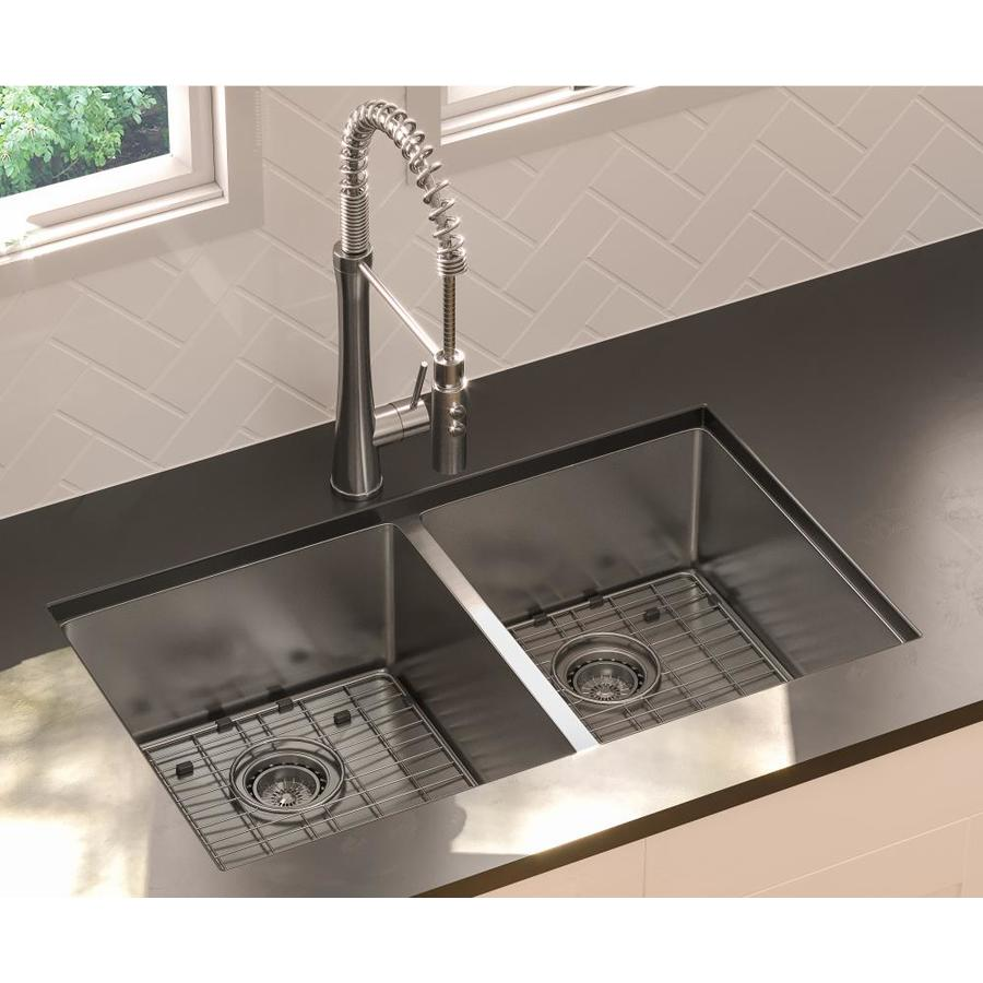 Kitchen Sink 19 X 33: Giagni 33-in X 19-in Stainless Steel Double-Basin
