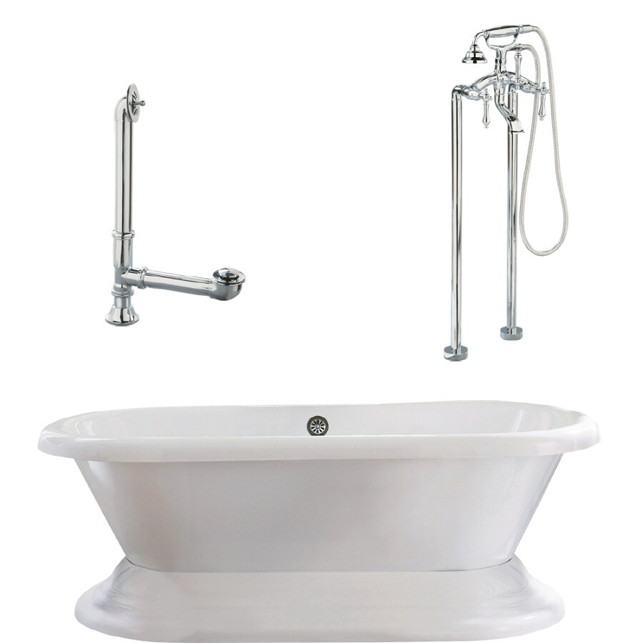 Giagni Wescott Acrylic Oval Pedestal Bathtub With Back Center Drain  (Common: 40 In
