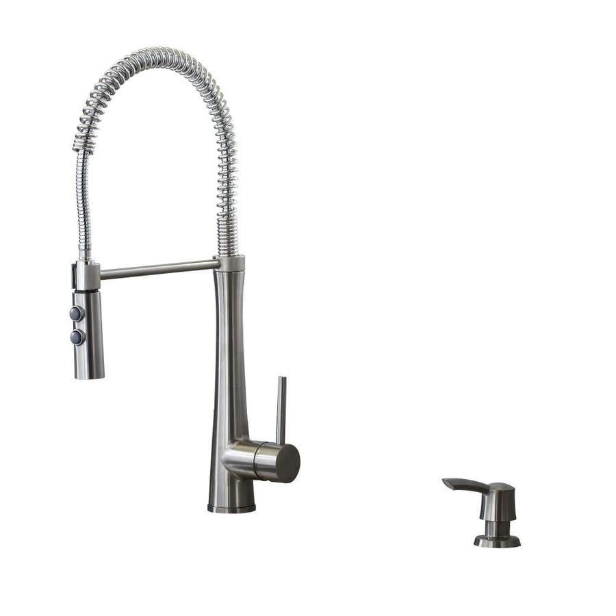 Elegant Giagni Fresco Stainless Steel 1 Handle Deck Mount Pre Rinse Kitchen Faucet