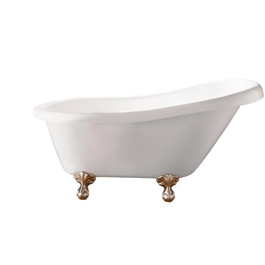 Giagni Newton 67-in White Acrylic Clawfoot Bathtub with Reversible Drain