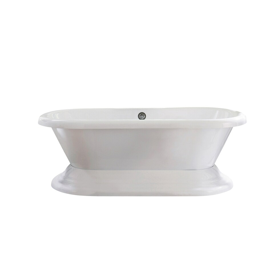 Giagni Wescott Acrylic Oval Pedestal Bathtub with Back Center Drain (Common: 40-in x 72-in; Actual: 23.6-in x 39.7-in x 70.86-in)