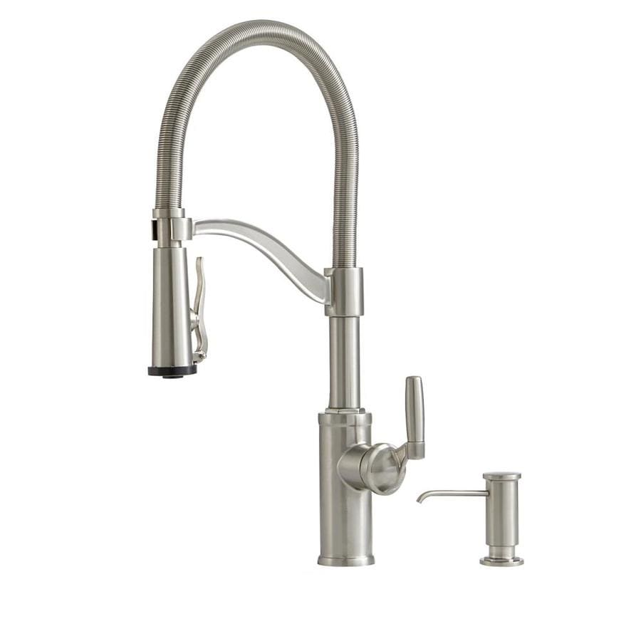 in spray handle huntley stainless faucet sprayer pull steel with single down standard selectflo american kitchen